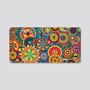 Colorful Floral Pattern Aluminum License Plate