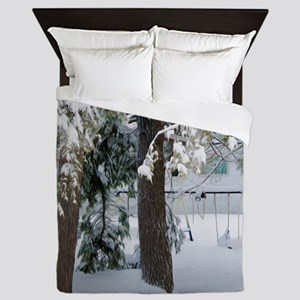 Playground under snow Queen Duvet