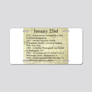 January 22nd Aluminum License Plate