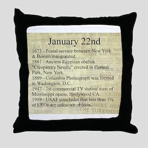 January 22nd Throw Pillow