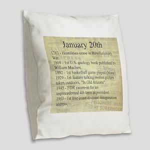 January 20th Burlap Throw Pillow