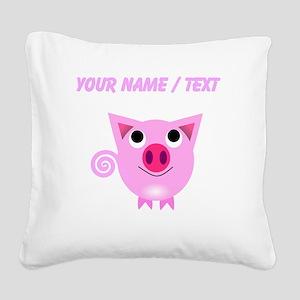 Custom Cartoon Pig Square Canvas Pillow