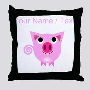 Custom Cartoon Pig Throw Pillow