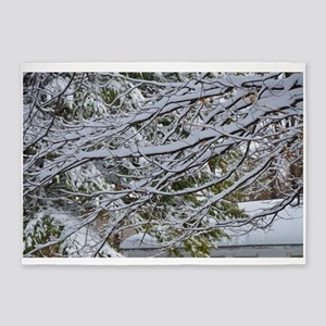 Winter branches of trees in snow 5'x7'Area Rug