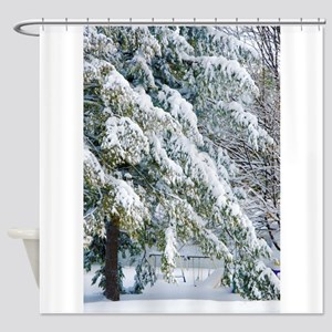 Beautiful trees covered with snow Shower Curtain