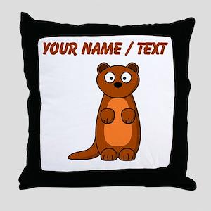 Custom Cartoon Weasel Throw Pillow