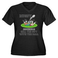 Rugby Kills Women's Plus Size V-Neck Dark T-Shirt