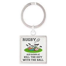 Rugby Kills Square Keychain