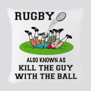 Rugby Kills Woven Throw Pillow