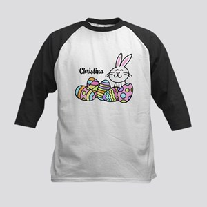 Personalized Bunny And Eggs Kids Baseball Jersey
