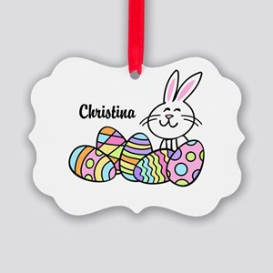 Personalized Bunny And Eggs Picture Ornament