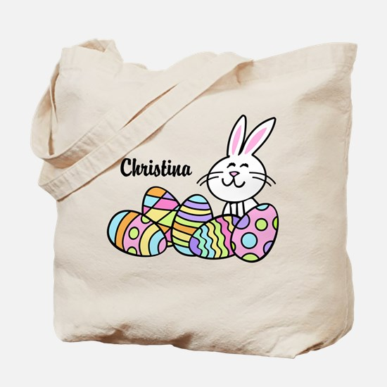 Personalized Bunny And Eggs Tote Bag