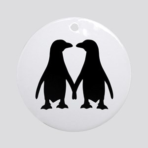 Penguin couple love Ornament (Round)