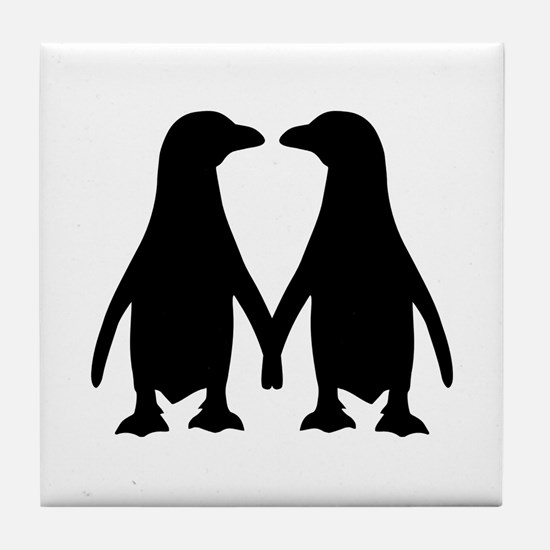 Penguin couple love Tile Coaster