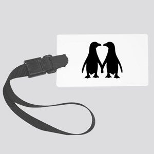 Penguin couple love Large Luggage Tag