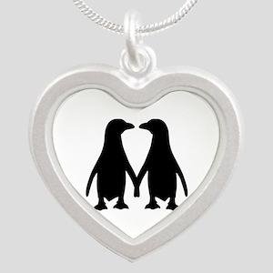 Penguin couple love Silver Heart Necklace
