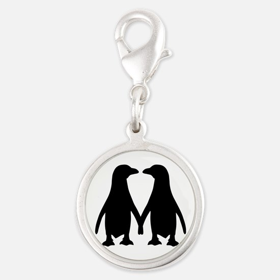 Penguin couple love Silver Round Charm