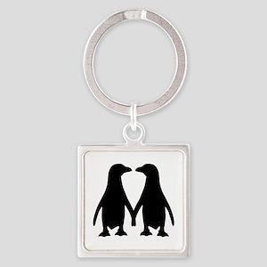 Penguin couple love Square Keychain