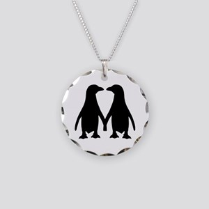 Penguin couple love Necklace Circle Charm