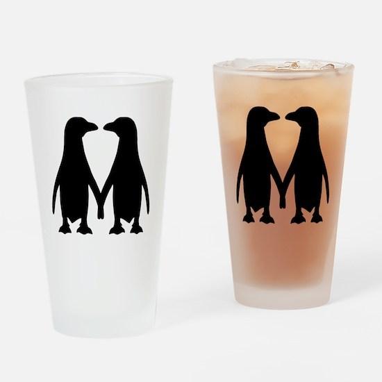 Penguin couple love Drinking Glass