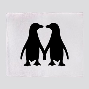 Penguin couple love Throw Blanket