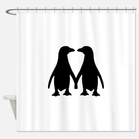 Penguin couple love Shower Curtain