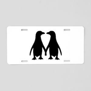 Penguin couple love Aluminum License Plate