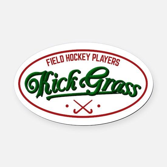 Field Hockey Players Kickgrass Oval Car Magnet