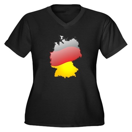 """Germany Bubble Map"" Women's Plus Size V-Neck Dark"
