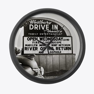 Drive-In Theater Marquee, 1954 Large Wall Clock