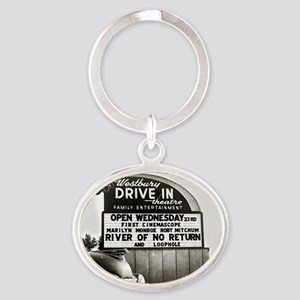 Drive-In Theater Marquee, 1954 Oval Keychain
