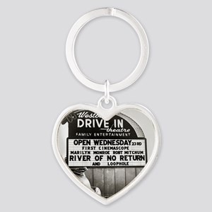 Drive-In Theater Marquee, 1954 Heart Keychain