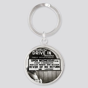 Drive-In Theater Marquee, 1954 Round Keychain