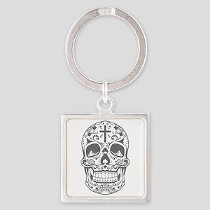 SugarSkull Grey-01 Keychains