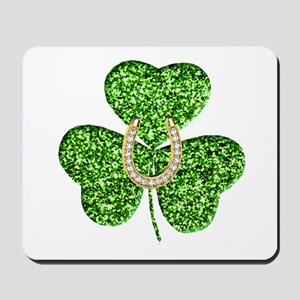 Glitter Shamrock And Horseshoe Mousepad