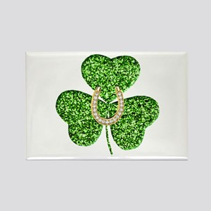 Glitter Shamrock And Horseshoe Magnets