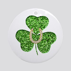 Glitter Shamrock And Horseshoe Ornament (Round)