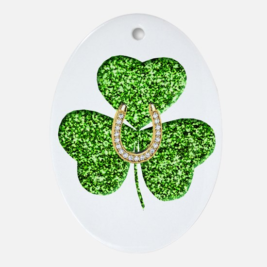 Glitter Shamrock And Horseshoe Ornament (Oval)