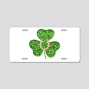 Glitter Shamrock And Horseshoe Aluminum License Pl