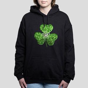 Glitter Shamrock With A Flower Hooded Sweatshirt
