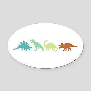 Prehistoric Medley Border Oval Car Magnet