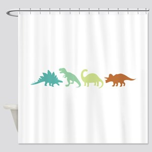 Prehistoric Medley Border Shower Curtain