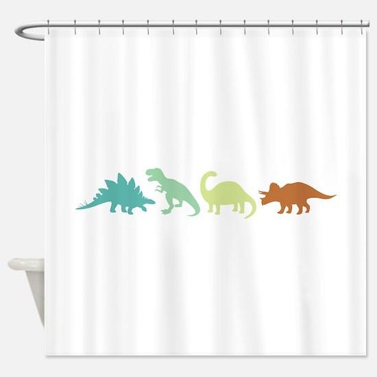 Prehistoric Medley Border Shower Curtain