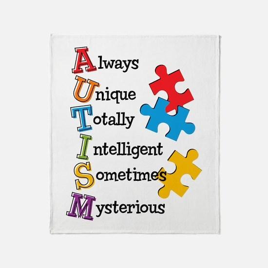 Autism Acrostic Throw Blanket