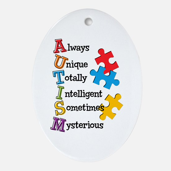 Autism Acrostic Ornament (Oval)