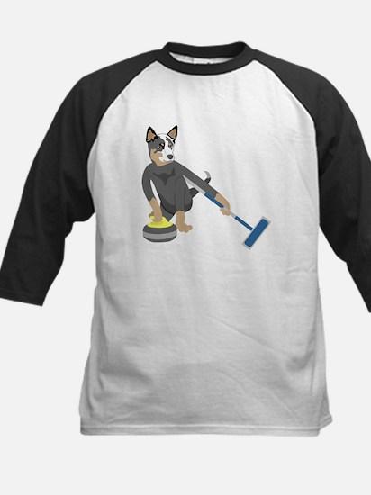 Australian Cattle Dog Curling Kids Baseball Jersey