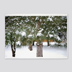 Winter trees 1 5'x7'Area Rug