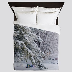 Playground in winter Queen Duvet