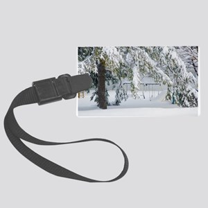 Snowy trees in winter landscape Luggage Tag