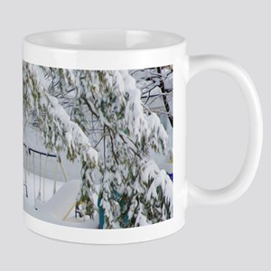 Snowy trees in winter landscape Mugs